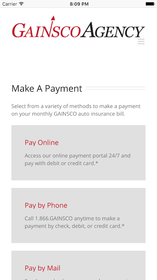 GAINSCO Auto Insurance- screenshot