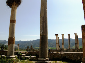 Photo: Volubilis - Capitol seen from the Basilica .......... Capitool vanuit de Basilica gezien
