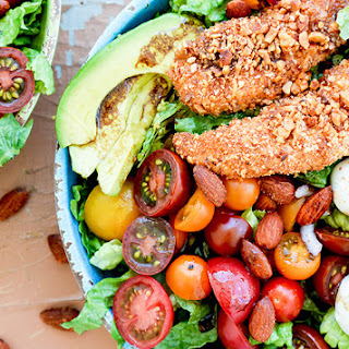 Sriracha Almond-Crusted Chicken Caprese Salad