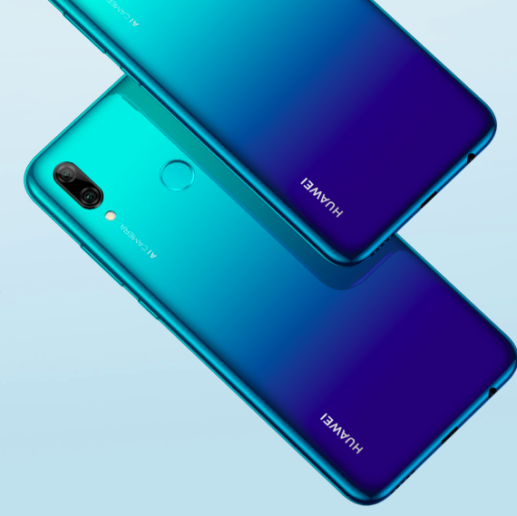 The Huawei P smart 2019 handset is available in aurora blue, reminiscent of the popular Twilight shade seen on the P20 Pro.
