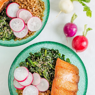 Farro Bowl with Crispy Salmon and Toasted Sesame Spinach Recipe