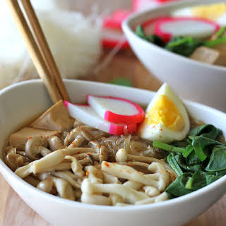 Miso Soup with Vermicelli, Mushrooms and Tofu.