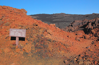 Photo: Today, Stuart and I go 11.5 miles to Mauna Loa Cabin (altitude gain 3,215 ft.).  The trail was re-routed after the sign was made, accounting for the slight increase in distance.