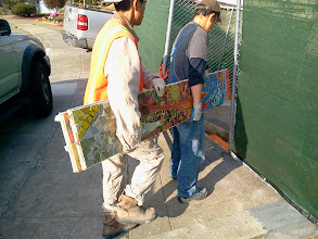 Photo: Fourth full day of work (October 30, 2013) with KZ Tile workers (left to right: Sing and Ton) carrying pieces of the Hidden Garden Steps (16th Avenue, between Kirkham and Lawton streets in San Francisco's Inner Sunset District) 148-step ceramic-tile mosaic designed and created by project artists Aileen Barr and Colette Crutcher. For more information about this volunteer-driven community-based project supported by the San Francisco Parks Alliance, the San Francisco Department of Public Works Street Parks Program, and hundreds of individual donors, please visit our website at http://hiddengardensteps.org.
