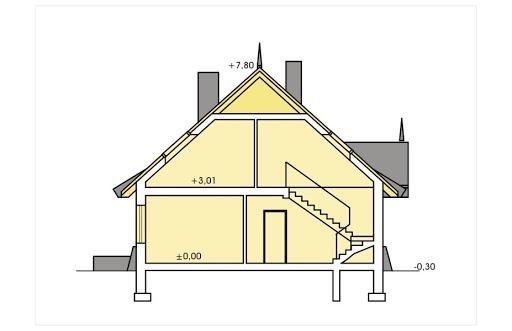 Tymek wersja A z pojedynczym garażem - Przekrój