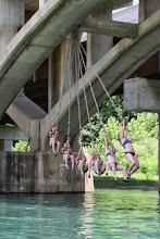 Photo: Swinging from the Hwy 19 Bridge, Eminence, MO.