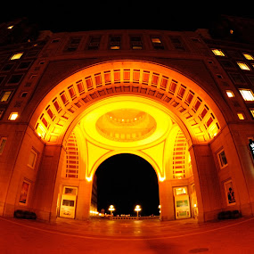 Boston - 50 Rowes Wharf by PhotoArt Galleries - Travel Locations Landmarks ( 50 rowes wharf, arch, brick, stone, cityscape, street lamp, city, lights, street light, boston, arches, perspective, night, gold, wharf, rowes wharf, waterfront, golden, sidewalk )