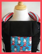 "Photo: ""Seuss""  customized Beco Gemini coordinating drool pads combined 3 fabrics"