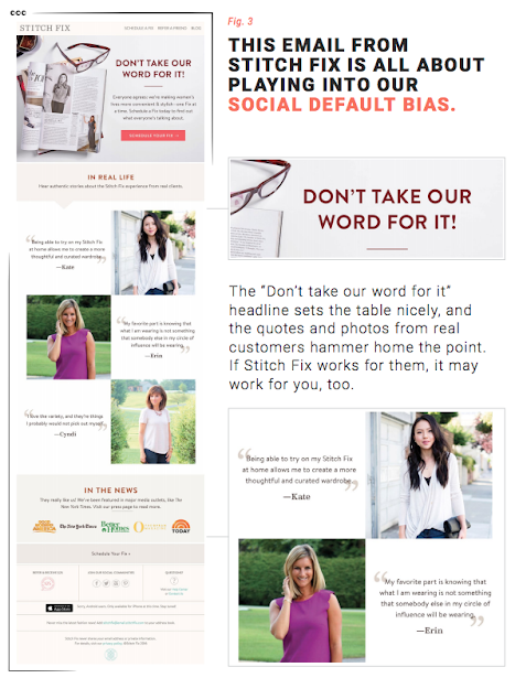 This email from Stitch Fix is all about playing into our Social Default Bias.