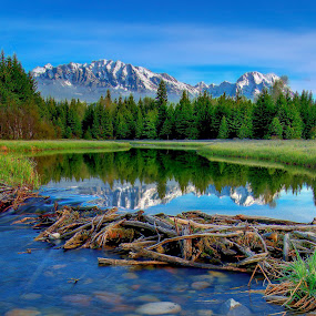 Schwabachers Other Beaver Dam by Jerry Patterson - Landscapes Mountains & Hills ( mountains, reflection, tetons, 5d, river )