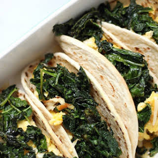 (5 Ingredient) Crispy Kale and Smoked Gouda Scrambled Egg Tacos.