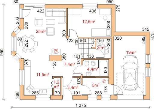Dom przy Cyprysowej 11 - Rzut parteru