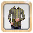 Man Check Shirt Photo Suit icon