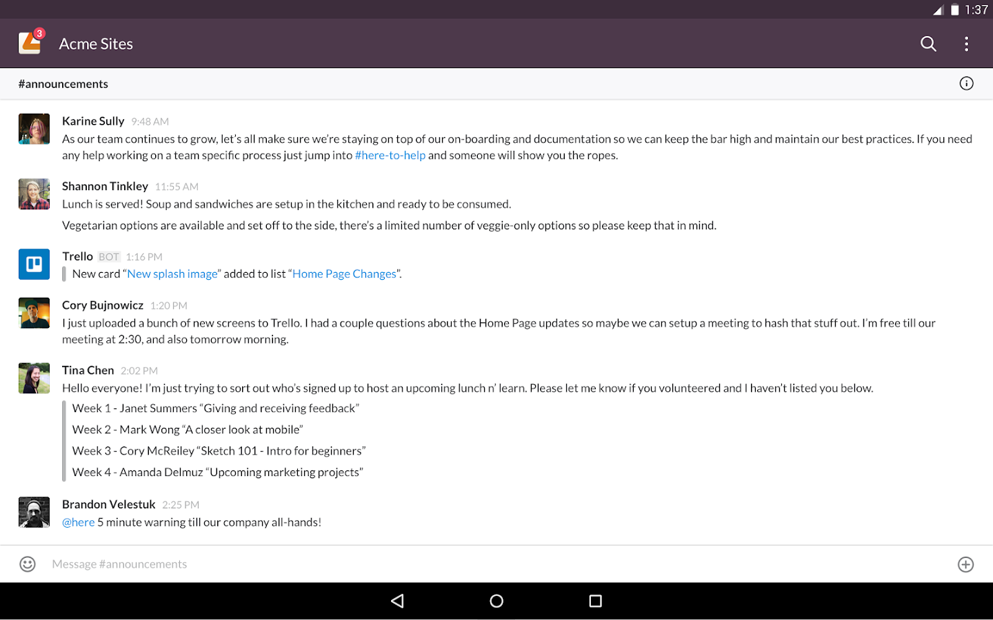 Screenshots of Slack for Android