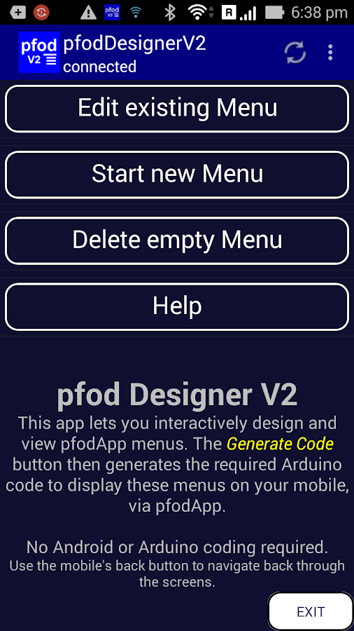 pfodDesignerV3 for pfodApp- screenshot