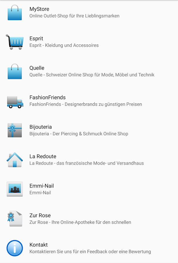Shopping Schweiz Online – Screenshot