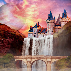 Waterfall Castle by Charlie Alolkoy - Illustration Buildings ( planet, sunset, waterfall, castle, bridge )