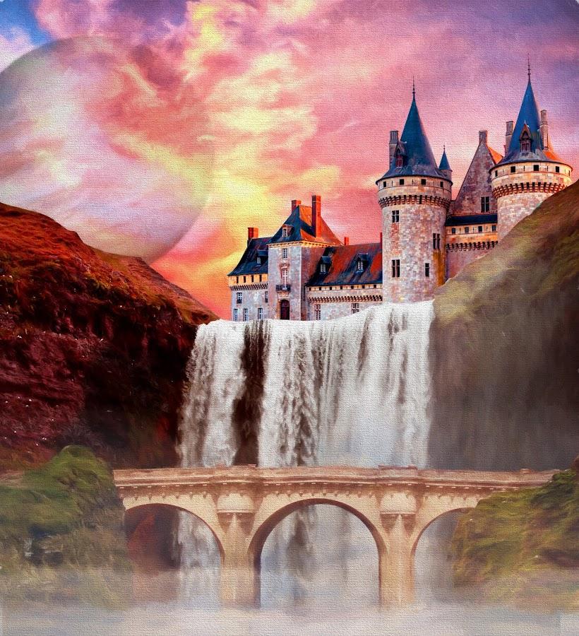 Waterfall Castle by Charlie Alolkoy - Illustration Buildings ( planet, sunset, waterfall, castle, bridge )