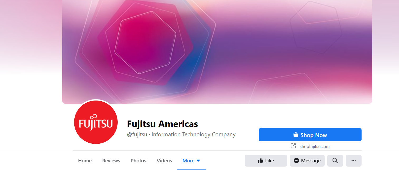 An image of Fujitsu's facebook page. It's complete with all details