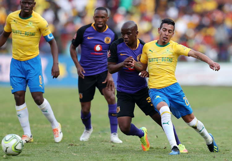 Leandro Sirino of Mamelodi Sundowns challenged by Siphosakhe Ntiya Ntiya of Kaizer Chiefs during the Absa Premiership 2018/19 match between Mamelodi Sundowns and Kaizer Chiefs at the Loftus Versveld Stadium, Pretoria on 04 August 2018.