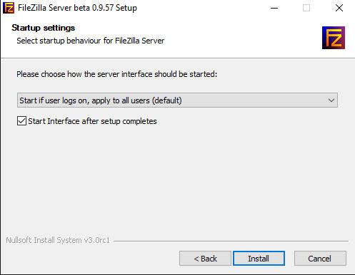 Seleccionar como se inicia el servidor FTP