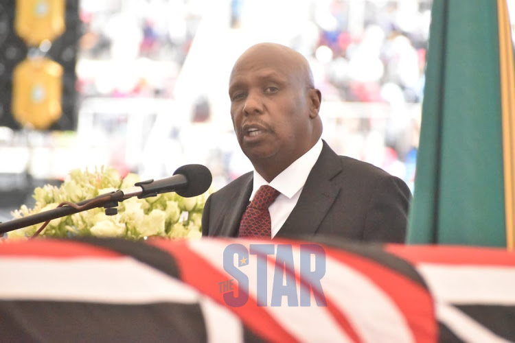Baringo Senator Gideon Moi pays tribute to his father Daniel Moi during the funeral service at Nyayo Stadium, Nairobi, February 11, 2020.