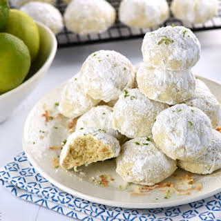 Lime Coconut Snowball Cookies.