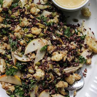 Tamari Roasted Cauliflower Salad with Black Rice + Miso Pear Dressing.