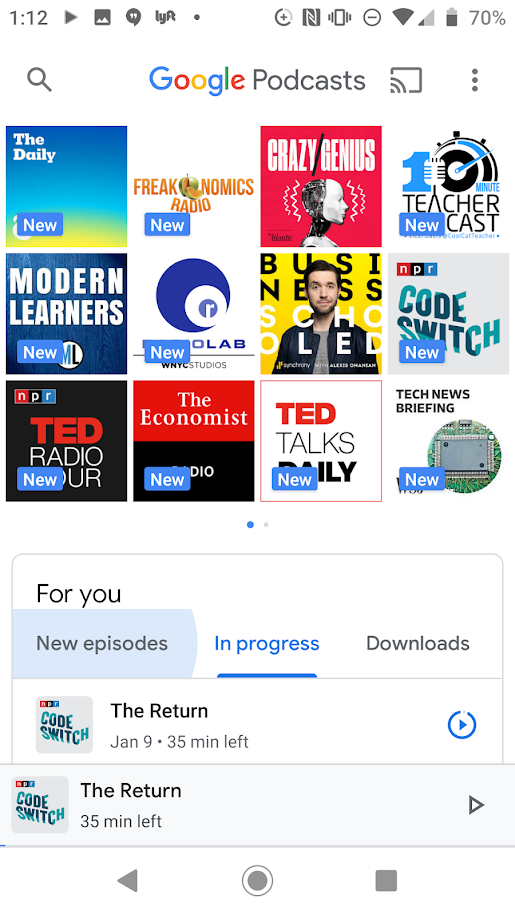 Screen shot of my Google Podcasts library