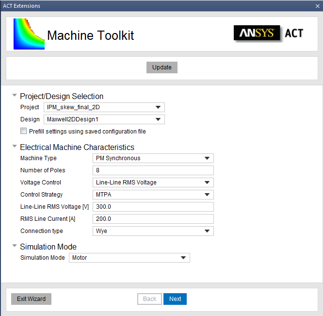 ANSYS Панель для задания параметров электрической машины