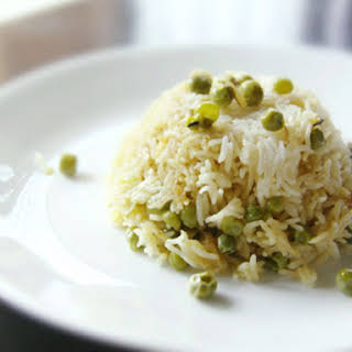 Basmati Rice and Pea Pilaf (Peas Pulao).