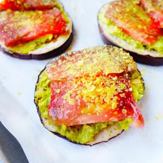 Avocado Tomato Eggplant Rounds.