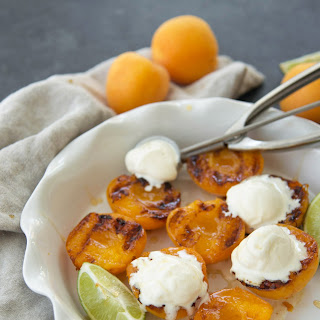 Grilled Honey Ginger Apricots With Ice Cream.