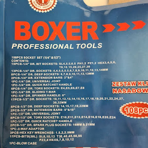 Trusa chei BOXER 108 piese, negru, Chrome Vanadium, Polonia