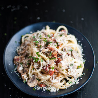 Pasta With Pancetta, Mushrooms, and Garlic.