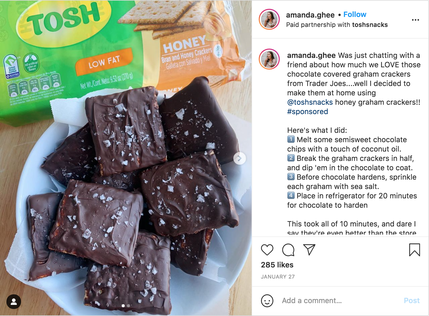 Tosh Snacks influencer marketing example