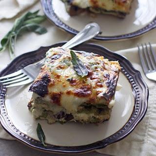 Triple Mushroom Lasagna with Ricotta, Sage and Fontina.