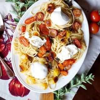 Roasted Cherry Tomato And Burrata Pasta.