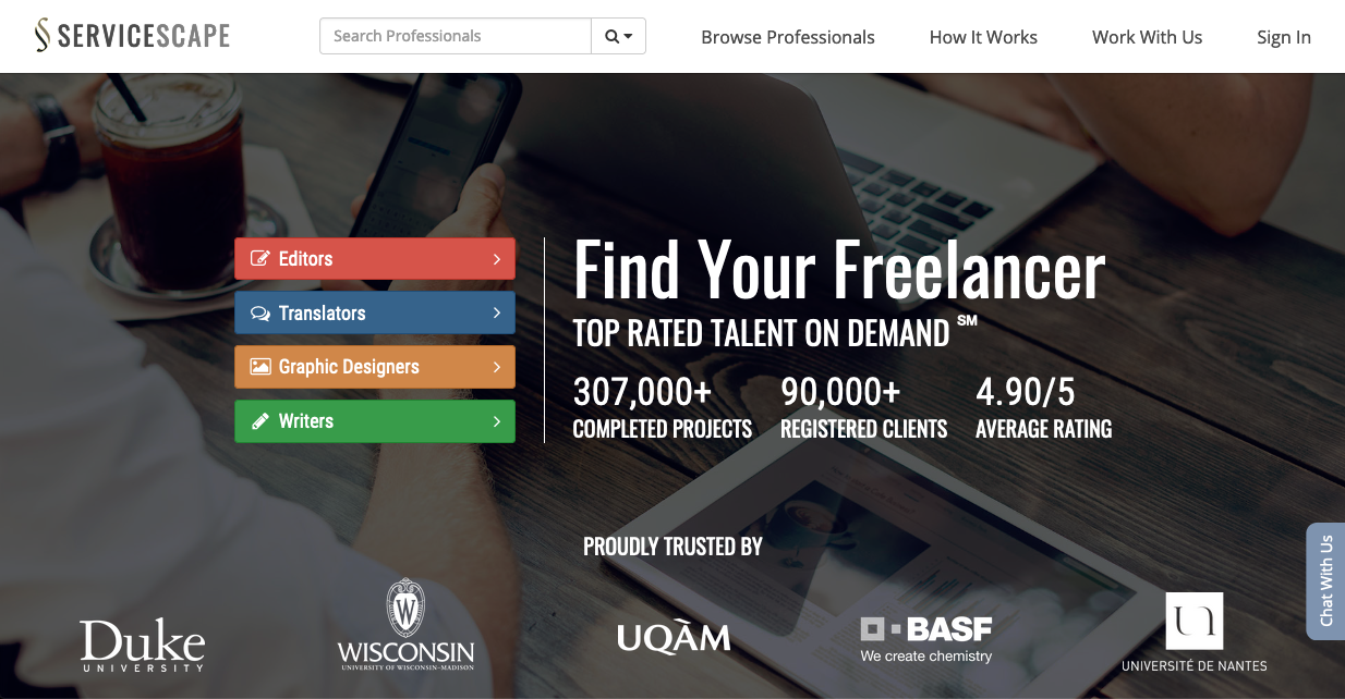 Screenshot of freelancing website: ServiceScape