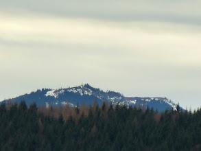 Photo: Der Unterberg (1342m) -mit seinem Vorgipfel rechts- taucht aus dem grünbraunen Nadelwald auf.   ;-)