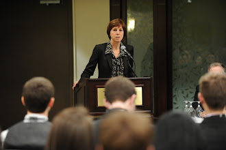 Photo: Colleen Sidford - President of Women in Nuclear Canada, speaking at the Career Development Seminar