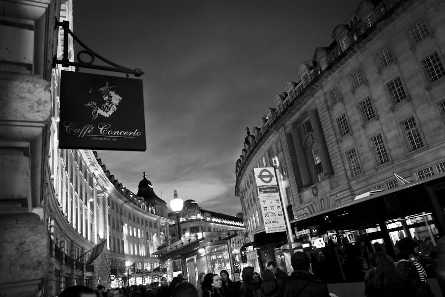 Regent Street by Chuan Herng Low - Landscapes Travel ( regent, concerto, london, street, white, cafe, black )