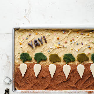 Chocolate Sheet Cake With Pistachio Butter Frosting.