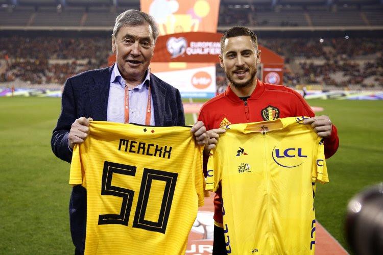 ? Eden Hazard et Eddy Merckx échangent leur maillot jaune