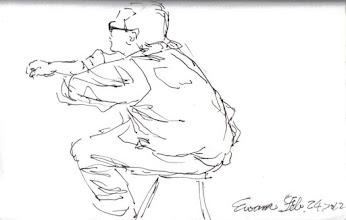 Photo: 古椎2012.02.24鋼筆 這位老兄老要我幫他畫,而且一定要畫得「古椎(可愛)」,可我畫好他卻不太滿意,說:怎麼這麼像青蛙!
