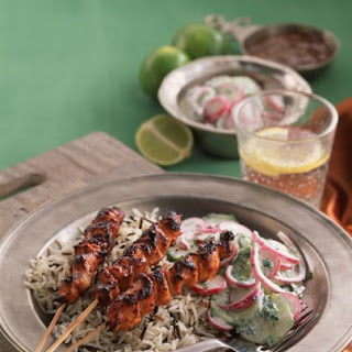 Tandoori Chicken Kebabs with Cucumber Radish Salad.