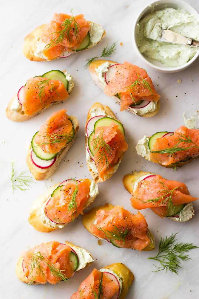 Smoked Salmon and Herb Cheese Crostini Recipe