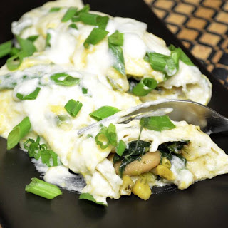White Beans And Spinach Enchiladas With Spicy Jalapeno Sauce