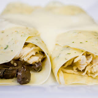 Chicken & Mushroom-Stuffed Crepes with Mornay Sauce.