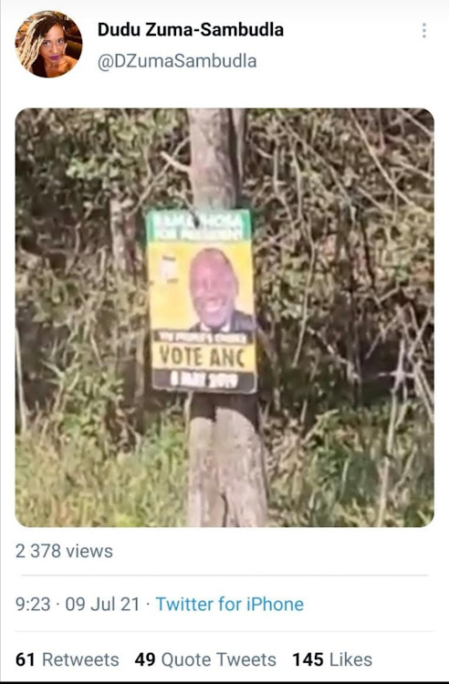 A screengrab of a video, purportedly posted on Duduzile Zuma-Sambudla's Twitter account, in which an unknown person fires shots at an election poster featuring President Cyril Ramaphosa's face.